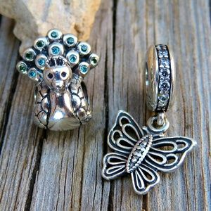 Authentic Pandora Charm Bundle Peacock & Butterfly